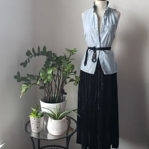Black 90s Crushed Velvet Maxi Skirt